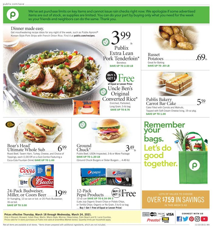 Publix Weekly Ad (3/25/21 - 4/3/21) Preview